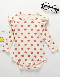 Fashion Beige Small Love Printed Baby Cotton Piece Jumpsuit