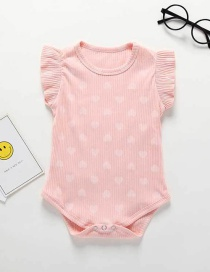 Fashion Pink Sleeveless Small Love Printed Baby Cotton Piece Jumpsuit