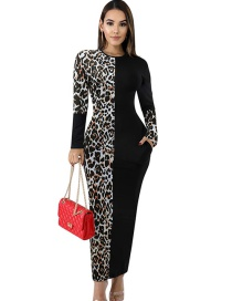 Fashion Light Café Leopard Printed Stitching Dress