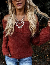 Fashion Red Lapel Off-the-shoulder Oblique Collar With Two Lantern Sleeve Sweaters
