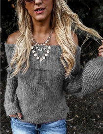 Fashion Gray Lapel Off-the-shoulder Oblique Collar With Two Lantern Sleeve Sweaters