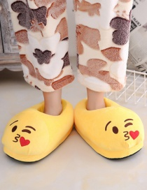 Fashion 2 Yellow Love Cartoon Expression Plush Bag With Cotton Slippers