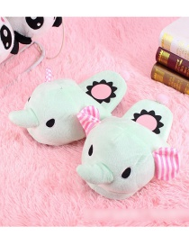 Fashion Green Elephant Cartoon Animal Big Plush Cotton Slippers