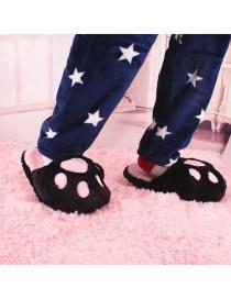 Fashion Black Cartoon Bear Paw Plush Cotton Slippers