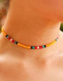 Fashion Yellow Starfish Shell Rice Beads Necklace