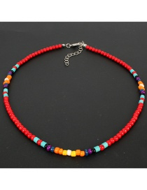 Fashion Red Natural Stone Rice Beads Necklace