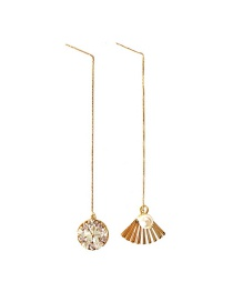 Fashion Gold Asymmetric Diamond Earrings