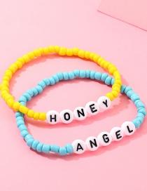 Fashion Yellow + Blue Mizhu Letter Honeyangel Bracelet
