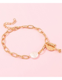 Fashion Gold Alloy Disc Rose Natural Pearl Bracelet