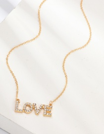 Fashion Gold Diamond Letter Love Necklace