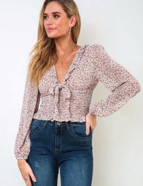 Fashion Pink Flower Print Ruffled Shirt