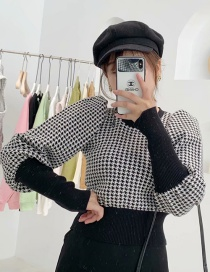 Fashion Black Houndstooth Sweater