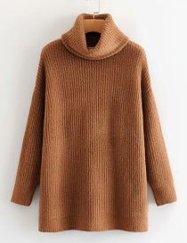 Fashion Dark Khaki Turtleneck Sweater