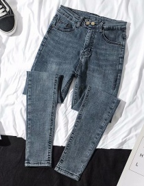 Fashion Blue Black Washed Feet And High-elastic Jeans