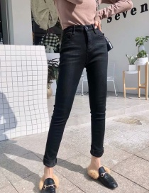 Fashion Black Elastic And Velvet Jeans