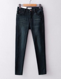 Fashion Blue Elastic And Velvet Jeans