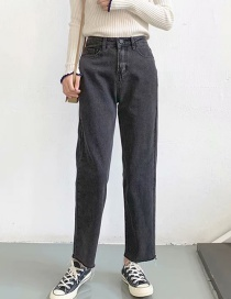 Fashion Gray Washed High Waist Straight Jeans