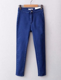 Fashion In Blue Washed High Waist Stretch Thick Jeans