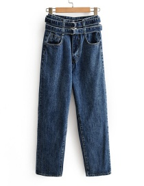 Fashion Blue Washed High Waist Straight Belt Jeans
