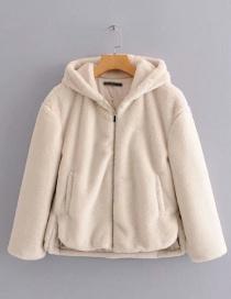 Fashion Beige Hooded Fur Zip Coat