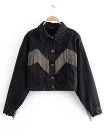 Fashion Black Washed Metal Fringed Denim Jacket