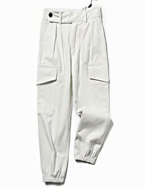 Fashion White Closed Straight Overalls