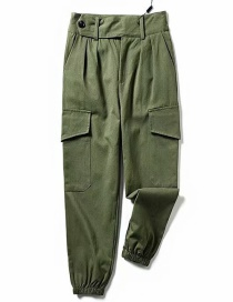 Fashion Army Green Closed Straight Overalls