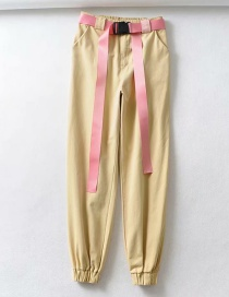 Fashion Beige Contrast Tie Straight Pants
