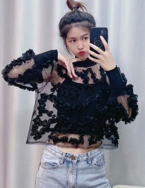 Fashion Black Stitching Translucent Disc Flower Shirt