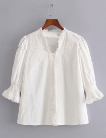 Fashion White Embroidered Lace Solid Color Shirt