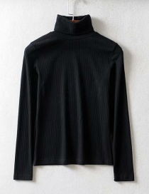 Fashion Black Threaded Turtleneck T-shirt