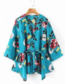 Camisa Con Cuello En V Con Cordones Y Estampado De Flores