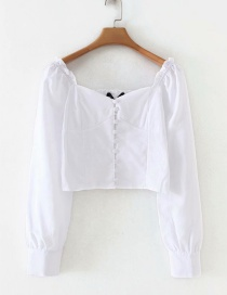 Fashion White A Row Of Buttoned Collar Shirts
