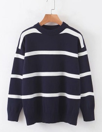 Fashion Blue Striped Sweater