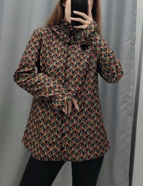Fashion Coffee Color Laminated Flower Print Shirt