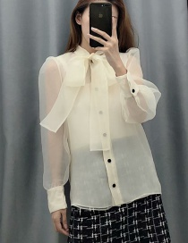 Fashion Cream Color Bow Organza Stitching Shirt
