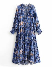 Fashion Blue Flower Print Dress
