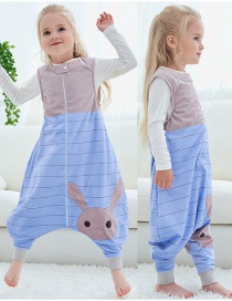 Fashion Blue Striped Rabbit Sleeveless Flannel Baby One-piece Home Service