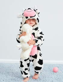 Fashion Cow Animal Jumpsuit Flannel Children's Romper