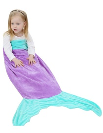 Fashion Purple Flannel Mermaid Child Sleeping Bag