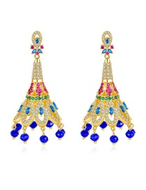 Fashion Blue-t04d22 Copper Inlaid Zirconium Peacock Plume Stud Earrings