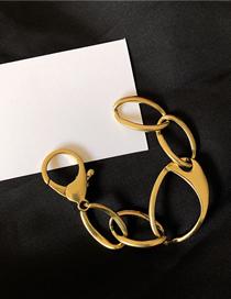 Fashion Gold Hollow Oval Geometric Shape Open Bracelet