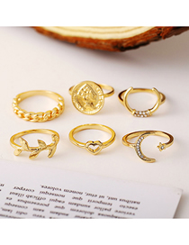 Fashion Gold Coin Crescent Leaf Love Ring Set Of 6