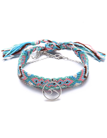 Fashion Blue Wave Braided Anklet