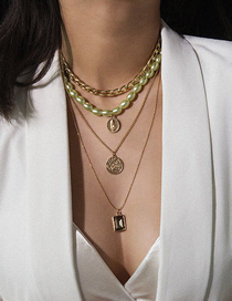 Fashion Green Portrait Gem Multi-layer Pearl Necklace