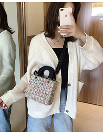 Fashion Pink Woolen Stitching Shoulder Bag