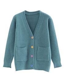 Fashion Green Color Button Knit Cardigan