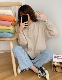 Fashion Apricot Solid Color Pullover Button Knit Sweater