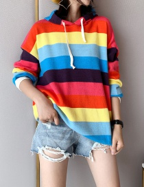 Fashion Red Rainbow Striped Hooded Sweater