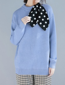 Fashion Blue Polka Dot Streamer Stitching Top